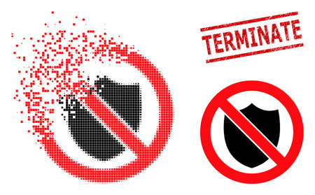 No shield icon in sparkle, pixelated halftone style and Terminate rubber stamp seal. Particles are arranged into vector dispersed no shield symbol.