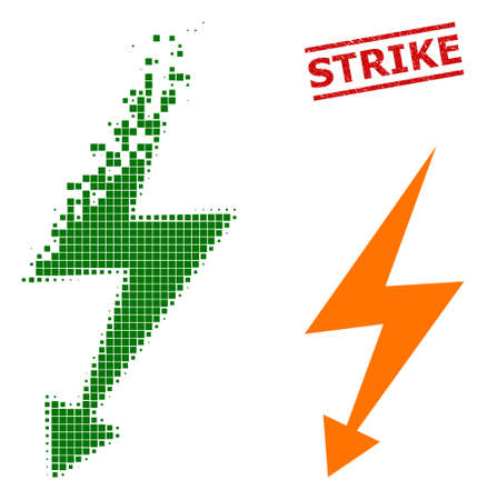 Electric strike icon in dispersed, pixelated halftone style and Strike rubber stamp seal. Cells are arranged into vector disappearing electric strike form.