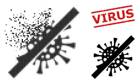 No contagious virus icon in dispersed, pixelated halftone style and Virus grunge stamp print. Particles are combined into vector dissipated no contagious virus pictogram.