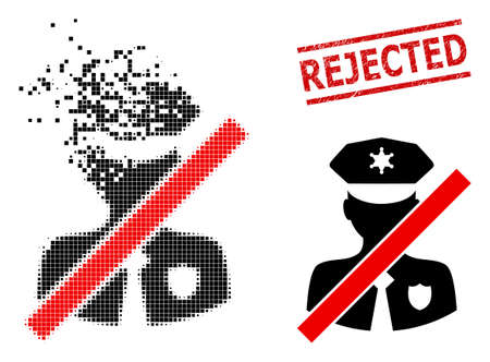 Closed police patrol icon in fractured, dotted halftone style and Rejected scratched stamp seal. Fragments are organized into vector dissipated closed police patrol icon.