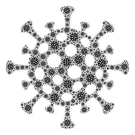 Recursive mosaic flu virus. Raster mosaic is composed of repeating flu virus items. Flat raster design on a white background. 版權商用圖片