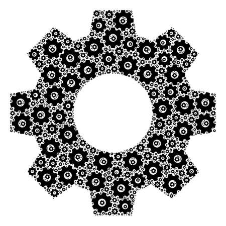 Recursion collage gear. Raster collage is made from recursive gear elements. Flat raster design on a white background. 版權商用圖片
