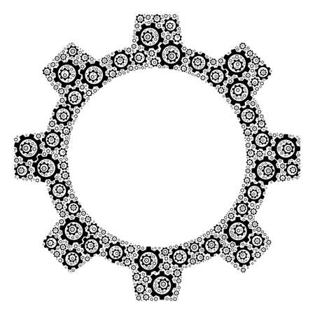 Recursive mosaic gear wheel. Raster mosaic is made of repeating gear wheel icons. Flat raster design on a white background.