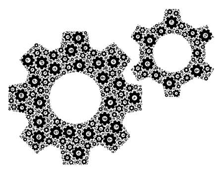 Recursion mosaic gears. Raster mosaic is made from random gears elements. Flat raster design on a white background. 版權商用圖片