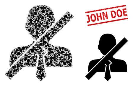 Recursive mosaic stop gentleman and John Doe grunge seal. Vector mosaic is done with randomized stop gentleman elements. Stamp seal includes John Doe text between parallel lines. 矢量图像