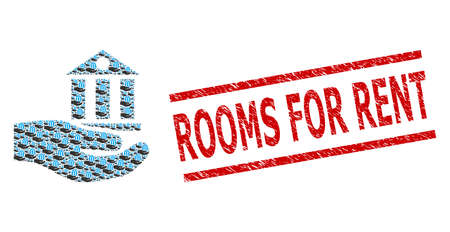 Recursive collage bank service and Rooms for Rent textured stamp print. Vector mosaic is formed with recursive bank service icons. Stamp seal includes Rooms for Rent tag between parallel lines.
