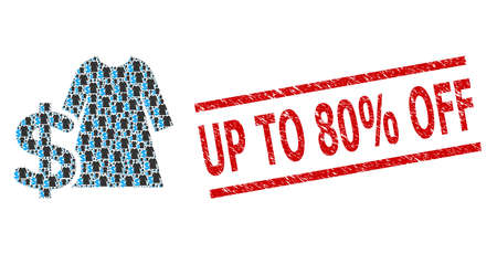 Recursion collage dress price and Up to 80% Off rubber stamp print. Vector mosaic is formed from recursive dress price icons. Stamp seal includes Up to 80% Off title between parallel lines.