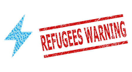 Recursive mosaic electric strike and Refugees Warning textured stamp seal. Vector collage is formed from random electric strike parts.