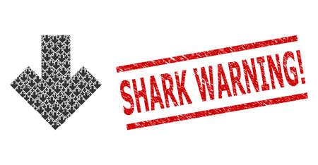 Recursion collage arrow down and Shark Warning! dirty seal. Vector collage is organized with random arrow down elements. Stamp seal includes Shark Warning! title between parallel lines. Ilustração