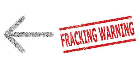 Recursive composition arrow left and Fracking Warning scratched stamp imitation. Vector collage is formed from recursive arrow left parts.