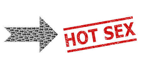 Fractal mosaic arrow right and Hot Sex unclean stamp. Vector mosaic is organized of randomized arrow right icons. Stamp includes Hot Sex tag between parallel lines.