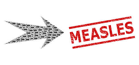 Recursive mosaic arrow right and Measles grunge stamp seal. Vector collage is designed from randomized arrow right items. Stamp seal includes Measles title between parallel lines.