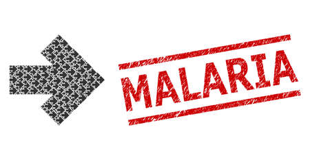 Fractal collage arrow right and Malaria scratched stamp seal. Vector mosaic is composed of random arrow right elements. Stamp seal includes Malaria title between parallel lines.