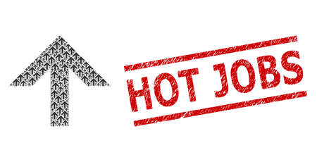 Recursive collage arrow up and Hot Jobs dirty stamp. Vector collage is made of repeating arrow up icons. Stamp includes Hot Jobs title between parallel lines.