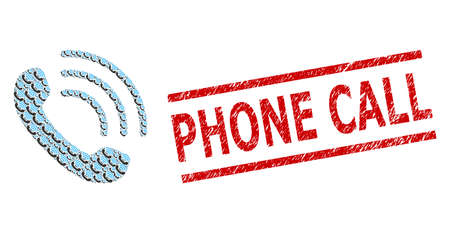 Recursive collage phone call and Phone Call textured stamp. Vector collage is formed from randomized phone call items. Stamp seal includes Phone Call caption between parallel lines.