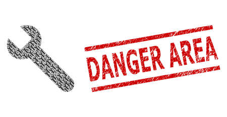 Recursive mosaic wrench and Danger Area scratched seal. Vector collage is organized with recursive wrench icons. Stamp seal includes Danger Area caption between parallel lines.