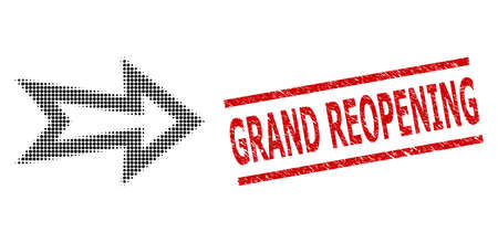 Arrow right halftone dotted pictogram and Grand Reopening rubber stamp seal. Seal includes Grand Reopening tag between parallel lines. Çizim
