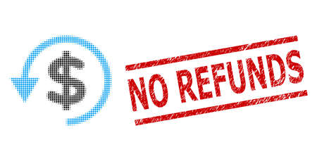 Chargeback halftone dotted icon and No Refunds scratched stamp seal. Stamp seal includes No Refunds caption between parallel lines. Ilustração