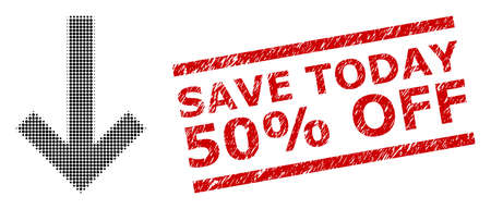 Down arrow halftone dotted icon and Save Today 50% Off corroded stamp seal. Stamp seal includes Save Today 50% Off text between parallel lines.