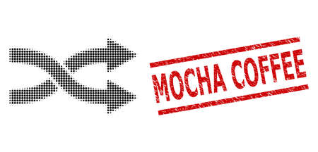 Shuffle arrows right halftone dotted illustration and Mocha Coffee scratched stamp seal. Stamp seal includes Mocha Coffee title between parallel lines.