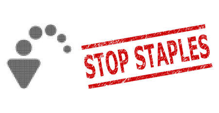 Undo halftone dotted icon and Stop Staples rubber stamp seal. Stamp seal includes Stop Staples title between parallel lines.