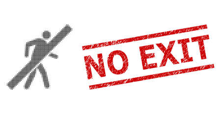No walking man halftone dotted vector and No Exit rubber stamp imitation. Stamp includes No Exit text between parallel lines.