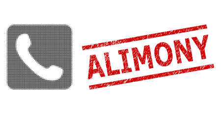Phone halftone dotted illustration and Alimony unclean stamp seal. Stamp seal includes Alimony caption between parallel lines. Phone vector is designed with halftone pattern which contains round dots.