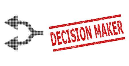 Split arrows left halftone dotted vector and Decision Maker corroded stamp. Seal includes Decision Maker caption between parallel lines. Illusztráció