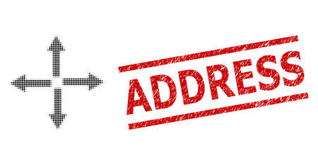 Expand arrows halftone dotted vector and Address unclean stamp print. Stamp seal includes Address tag between parallel lines.