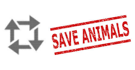 Recycle halftone dotted pictogram and Save Animals unclean stamp imitation. Stamp includes Save Animals tag between parallel lines.