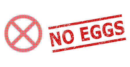 Stopped halftone dotted icon and No Eggs rubber stamp. Stamp seal includes No Eggs text between parallel lines. Stopped vector is done of halftone pattern which contains round pixels.