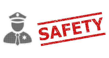 Police guy halftone dotted vector and Safety rubber stamp seal. Stamp seal includes Safety caption between parallel lines. Police guy vector is made of halftone pattern which contains circle dots. Vecteurs