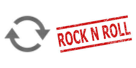 Refresh halftone dotted vector and Rock N Roll grunge stamp seal. Stamp seal includes Rock N Roll tag between parallel lines. Refresh vector is formed from halftone array which contains circle dots.
