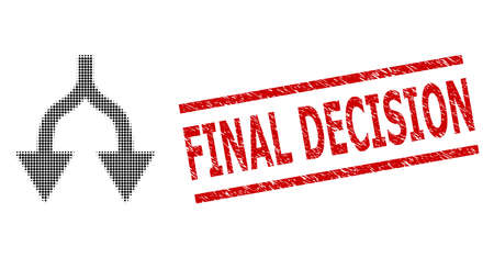 Split arrows down halftone dotted vector and Final Decision scratched stamp seal. Stamp seal includes Final Decision tag between parallel lines.