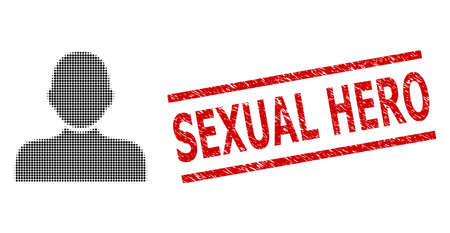 Man person halftone dotted vector and Sexual Hero scratched stamp imitation. Stamp includes Sexual Hero caption between parallel lines.  イラスト・ベクター素材