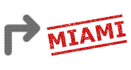 Turn right halftone dotted vector and Miami grunge stamp seal. Seal includes Miami caption between parallel lines. Turn right vector is composed of halftone pattern which contains round elements.