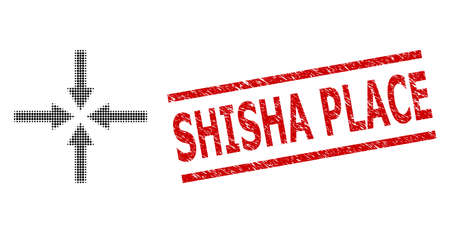 Impact arrows halftone dotted vector and Shisha Place grunge stamp imitation. Stamp seal includes Shisha Place tag between parallel lines. Banque d'images - 154548012