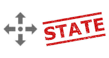 Expand arrows halftone dotted icon and State unclean stamp seal. Stamp seal includes State tag between parallel lines.