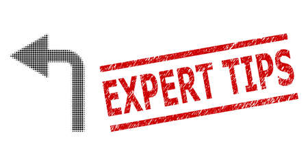 Turn left halftone dotted vector and Expert Tips scratched seal. Seal includes Expert Tips title between parallel lines. Turn left vector is created of halftone pattern which contains round elements.