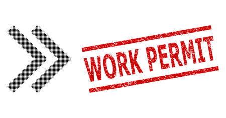 Shift right halftone dotted vector and Work Permit rubber stamp imitation. Stamp includes Work Permit text between parallel lines. Stock Illustratie