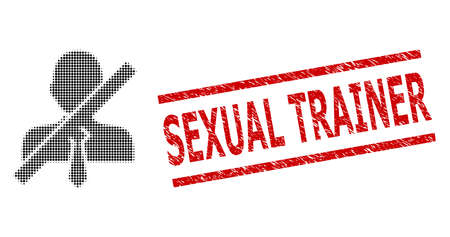 Stop gentleman halftone dotted vector and Sexual Trainer grunge stamp seal. Stamp seal includes Sexual Trainer title between parallel lines.