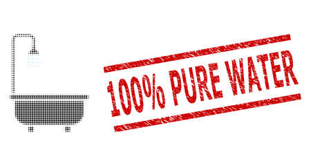 Shower bath halftone dotted vector and 100% Pure Water scratched stamp imitation. Stamp seal includes 100% Pure Water caption between parallel lines. Stock fotó - 154647651