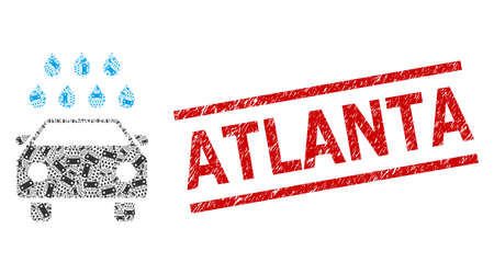 Recursion collage car shower and Atlanta dirty stamp seal. Stamp seal includes Atlanta title between parallel lines. Vector collage is designed with scattered car shower icons. Stock fotó - 154691428
