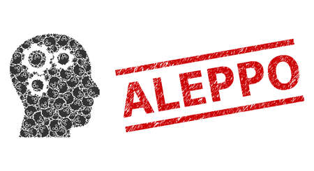 Recursion combination brain gears and Aleppo unclean stamp seal. Stamp includes Aleppo caption between parallel lines. Vector collage is composed of recursive brain gears elements.
