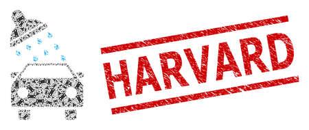 Recursive mosaic car wash and Harvard unclean stamp print. Seal includes Harvard title between parallel lines. Vector mosaic is designed of recursive car wash parts. Stock fotó - 154691551