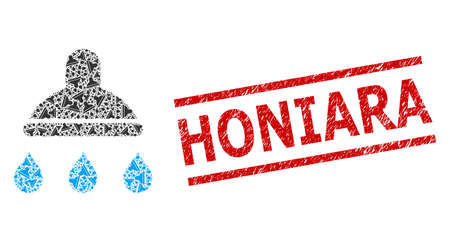 Recursive composition shower and Honiara unclean stamp print. Stamp seal includes Honiara tag between parallel lines. Vector collage is designed of recursive shower icons.