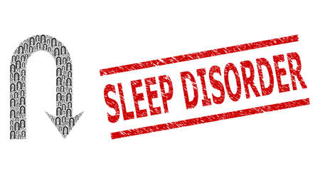 Recursive collage turn back and Sleep Disorder grunge seal. Vector collage is created with recursive turn back elements. Stamp seal includes Sleep Disorder text between parallel lines.