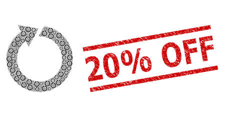 Recursion composition rotate and 20% Off grunge stamp seal. Vector mosaic is formed with random rotate parts. Stamp seal includes 20% Off text between parallel lines.