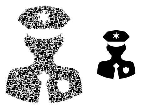 Recursive mosaic constable and basic icon. Vector mosaic is constructed from randomized constable parts. Flat vector design on a white background.
