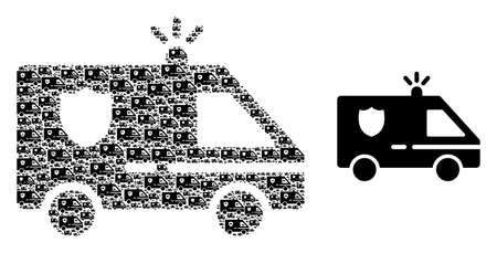 Recursive combination police car and source icon. Vector collage is designed with recursive police car parts. Flat vector design on a white background.